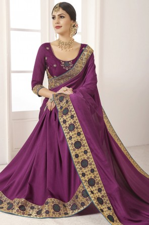 Excellent Silk Lace Work And Border Work Violet Saree And Blouse