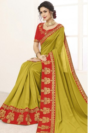 Ultimate Silk Border Work And Lace Work Olive Saree And Blouse