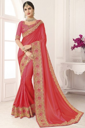 Stunning Peach Silk Border Work And Lace Work Saree And Blouse