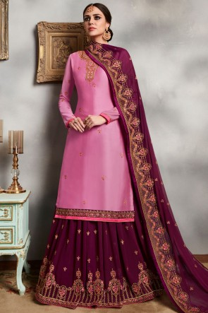 Stone Work And Embroidered Georgette Satin Pink Lehenga Suit With Faux Georgette Dupatta