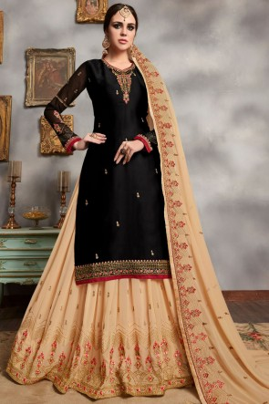 Hand And Stone Work Georgette Satin Black Lehenga Suit With Faux Georgette Dupatta