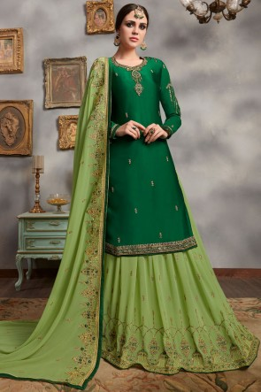 Embroidered And Hand Work Green Georgette Satin Lehenga Suit And Faux Georgette Bottom
