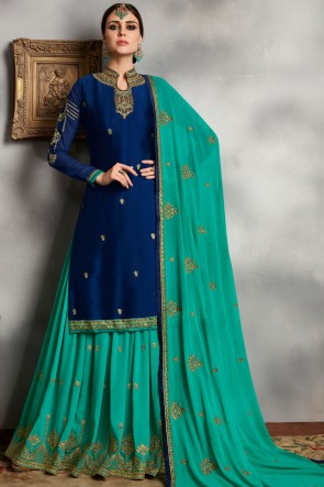 Blue Diamond Work Designer Georgette Satin Lehenga Suit With Faux Georgette Dupatta