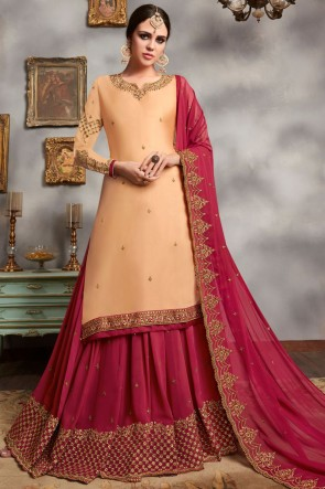 Georgette Satin Peach Embroidered Lehenga Suit With Faux Georgette Dupatta
