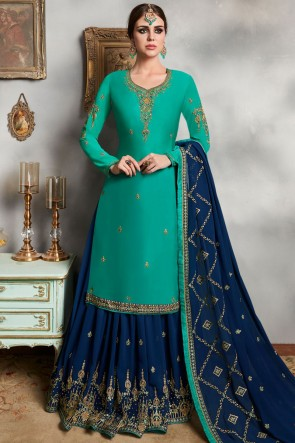 Heavy Designer Hand Work Teal Georgette Satin Stylish Lehenga Suit And Faux Georgette Bottom