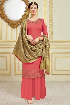 Charming Satin Swarovski Work And Weaving Work Pink Plazzo Suit With Viscose Dupatta
