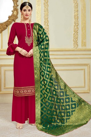 Party Wear Satin Maroon Weaving Work And Embroidered Plazzo Suit With Viscose Dupatta