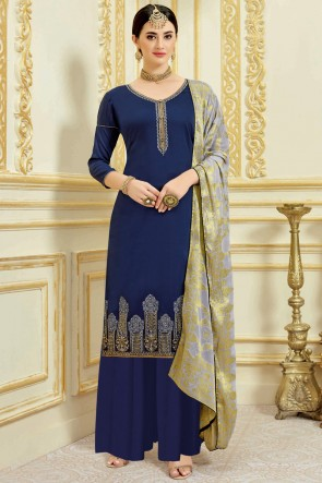 Lovely Navy Blue Satin Embroidered And Weaving Work Plazzo Suit With Viscose Dupatta
