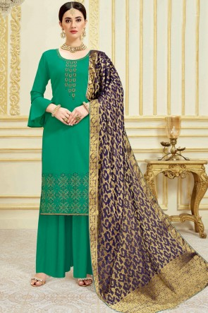 Sea Green Embroidered And Weaving Work Satin Plazzo Suit With Viscose Dupatta