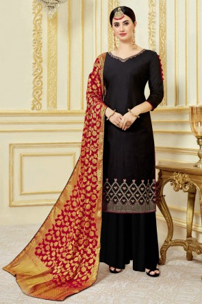Marvelous Embroidered And Swarovski Black Satin Plazzo Suit With Viscose Dupatta
