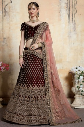 Maroon Velvet Stone Work And Thread Work Bridal Lehenga Choli With Net Dupatta