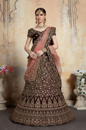 Marvelous Thread Work And Stone Work Velvet Maroon Bridal Lehenga Embroidered Blouse