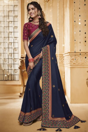 Embroidered And Border Work Navy Blue Designer Silk Saree With Border Work Blouse
