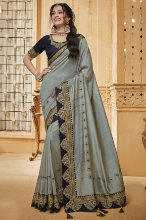 Designer Silk Border Work And Embroidered Grey Silk Designer Saree And Blouse