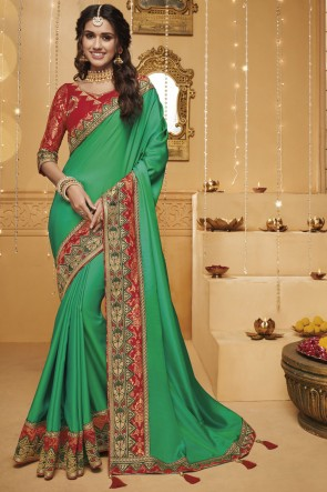 Green Embroidered And Border Work Silk Saree With Border Work Blouse