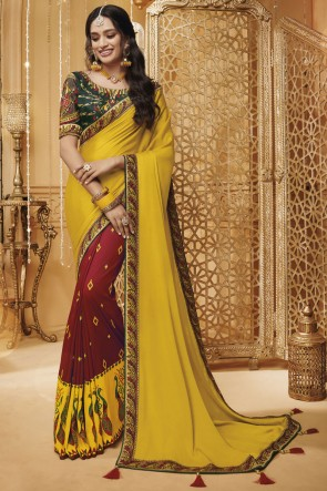 Classy Yellow And Maroon Embroidered And Border Work Silk Saree With Border Work Blouse