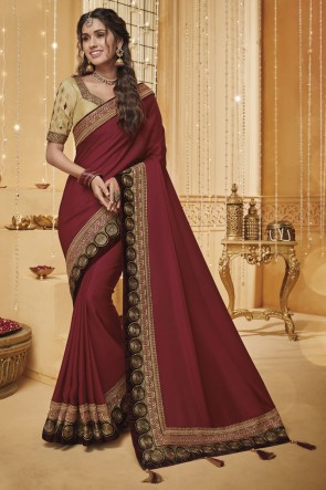 Beautiful Embroidered And Border Work Maroon Designer Silk Saree And Blouse
