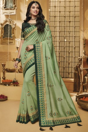 Stylish Light Green Embroidered And Border Work Designer Silk Saree And Blouse
