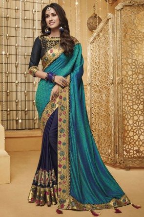 Beautiful Navy Blue And Aqua Embroidered And Border Work Designer Silk Saree And Blouse
