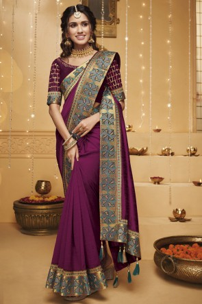 Stylish Magenta Border Work And Embroidered Silk Saree With Border Work Blouse
