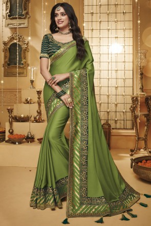 Lovely Green Border Work Designer Silk Saree With Border Work Blouse