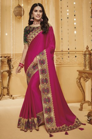Pink Border Work And Embroidered Designer Silk Saree With Border Work Blouse