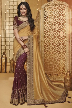 Party Wear Golden Amd Maroon Embroidered And Border Work Silk Saree With Border Work Blouse