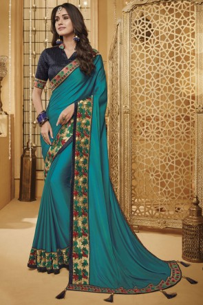 Splendid Border Work And Embroidered Aqua Silk Saree With Border Work Blouse
