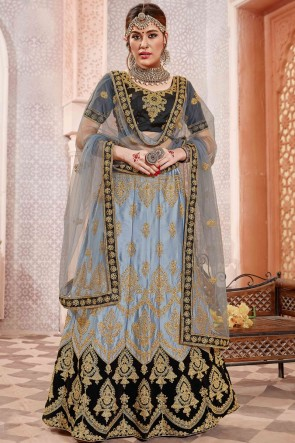 Grey Border Work And Embroidered Satin And Silk Lehenga Choli With Embroidery Work Blouse