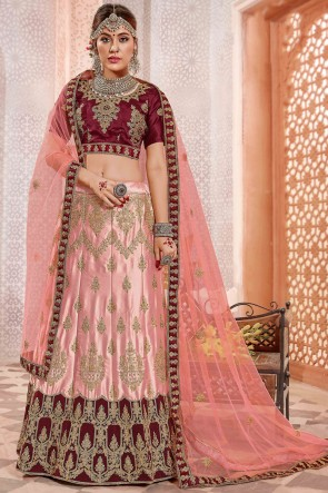 Marvelous Baby Pink Zari Work And Stone Satin And Silk Lehenga Choli With Embroidery Work Blouse