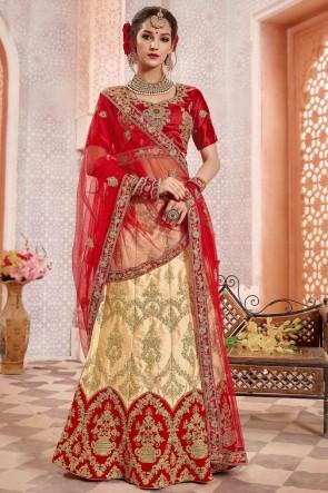 Heavy Designer Golden Satin And Silk Embroidered And Zari Work Lehenga Choli And Dupatta
