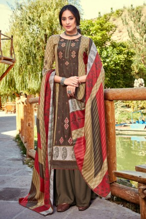 Lovely Multi Color Embroidered And Printed Wool Pashmina Plazzo Suit And Dupatta