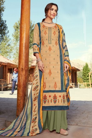 Appealing Embroidered And Printed Beige Wool Pashmina Plazzo Suit And Dupatta