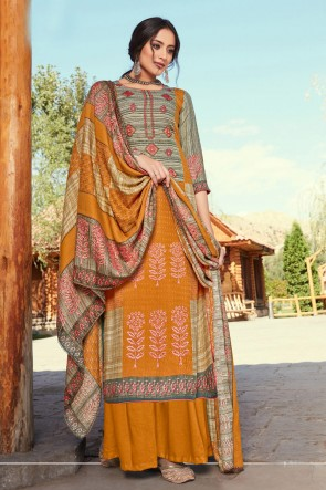 Excellent Embroidered And Printed Mustard Wool Pashmina Plazzo Suit And Dupatta