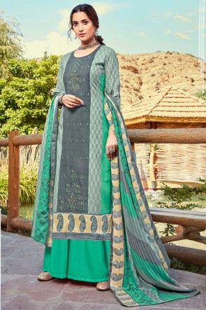 Delicate Multi Color Printed And Embroidered Wool Pashmina Plazzo Suit And Dupatta