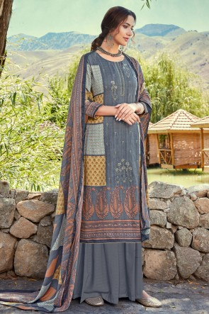 Charming Wool Pashmina Grey Embroidered And Printed Plazzo Suit And Dupatta