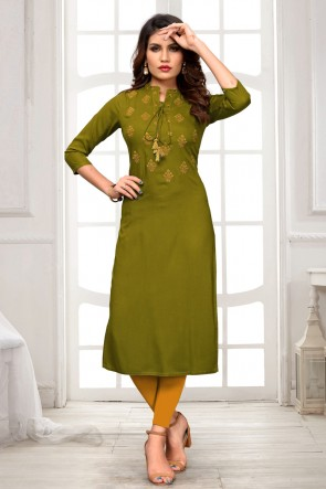 Excellent Rayon Mehendi Green Embroidered Kurti