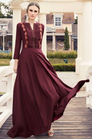 Gorgeous Rayon Maroon Embroidered Kurti
