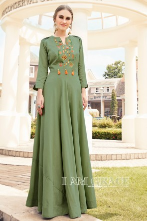 Heavy Designer Green Rayon Embroidered Kurti