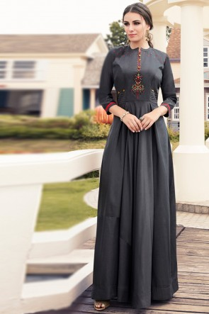Pleasing Charcoal Rayon Embroidered Kurti