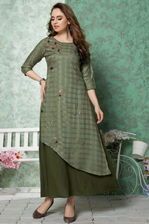 Lovely Green Embroidered Rayon Kurti