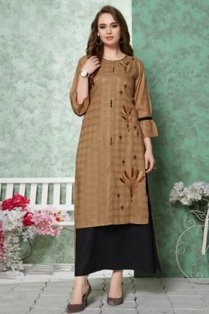 Stunning Brown Embroidered Rayon Kurti