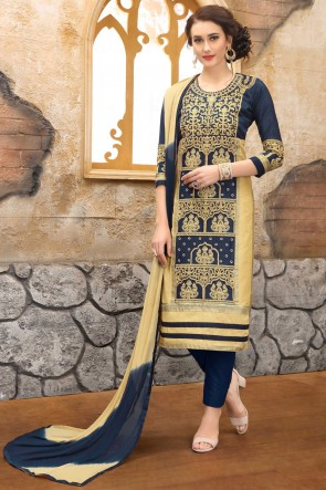 Party Wear Navy Blue Embroidered And Border Work Salwar Suit With Nazmin Dupatta