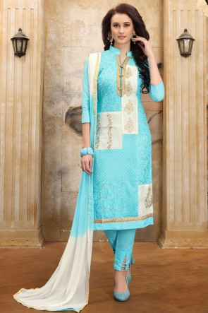 Supreme Sky Blue Embroidered And Border Work Cotton Salwar Suit With Nazmin Dupatta