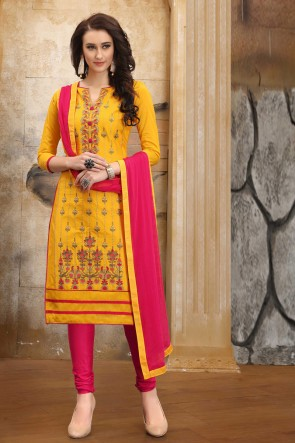 Heavy Designer Embroidered And Border Work Yellow Cotton Salwar Kameez With Nazmin Dupatta