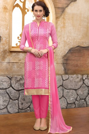 Solid Embroidered And Border Work Pink Cotton Salwar Suit With Nazmin Dupatta