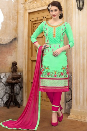 Parrot Green Embroidered And Border Work Cotton Salwar Suit With Nazmin Dupatta