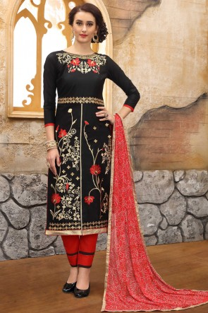 Marvelous Black Embroidered And Border Work Cotton Salwar Kameez With Nazmin Dupatta