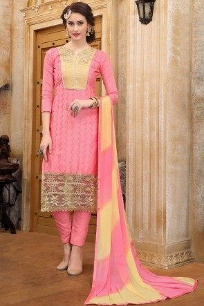 Delightful Pink Embroidered And Border Work Cotton Salwar Suit With Nazmin Dupatta