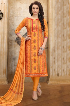 Charming Yellow Embroidered And Border Work Cotton Salwar Kameez With Nazmin Dupatta